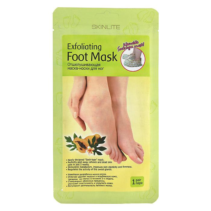 Skinlite Отшелушивающая маска-носки для ног, размер 35-40, 1 пара. SL-275SL-275Отшелушивающая маска-носки для ног: Новейшая разработка маска-носки. Отлично удаляет мозоли и огрубевшую кожу, трещины на стопах в течение 2х недель. Стимулирует обменные процессы, улучшает эластичность и упругость кожи. Регулирует деятельность потовых желез. Отшелушивающая маска-носки Skinlite для ног - это инновационный продукт, который сочетает в себе глубокий пилинг стоп и долговременный оздоравливающий эффект. Это эффективное средство для удаления мозолей, натоптышей и потрескавшейся кожи на стопах, предотвращающее огрубление кожи и образование новых трещин. Гликолевая и цитрусовая кислоты способствуют безболезненному и естественному удалению отмерших клеток. Натуральные экстракты папайи и яблока оказывают смягчающее, увлажняющее и восстанавливающее действие. Экстракт ромашки успокаивает кожу. Форма маски в виде носков делает процедуру простой и приятной. Уже через 7 дней кожа ваших ног станет гладкой и нежной,...