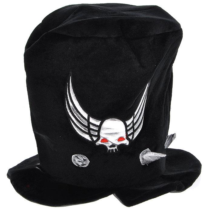 Шляпа карнавальная Хеллоуин. 2644126441Карнавальная шляпа Хеллоуин выполнена из полиэстера, декорирована текстильными шипами под металл и нашивкой в виде черепа с красными глазами и крыльями. Карнавальная шляпа станет завершающим штрихом в создании праздничного образа.