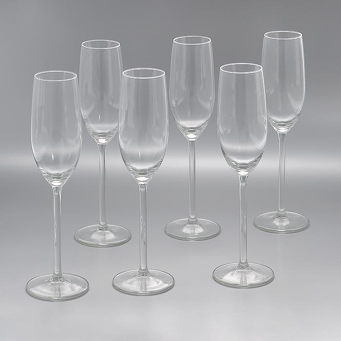 Набор бокалов для шампанского Allure, 210 мл, 6 штГл 450170Набор Allure, изготовленный из высококачественного стекла, состоит из шести бокалов на высоких ножках. Бокалы предназначены для подачи шампанского. Они сочетают в себе элегантный дизайн и функциональность. Благодаря такому набору пить напитки будет еще вкуснее. Набор бокалов Allure идеально подойдет для сервировки стола и станет отличным подарком к любому празднику.