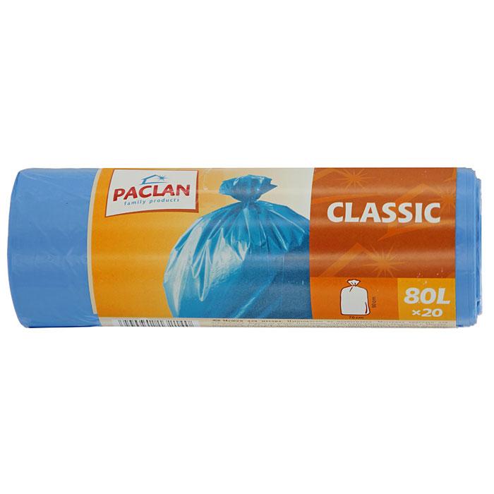 Пакеты для мусора Classic, цвет: синий, 80 л, 20 шт132147Пакеты для мусора Classic изготовлены из очень прочного хозяйственного полиэтилена. Они предназначены для вывозки и утилизации скопившего мусора. Характеристики: Материал: полиэтилен. Объем: 80 л. Цвет: синий. Количество: 20 шт. Размер: 70 см х 90 см. Артикул: 132147.
