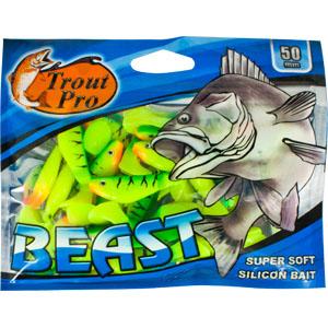 Риппер Trout Pro Beast, длина 5 см, 20 шт. 3515735157Риппер предназначен для джиговой ловли хищной рыбы: окуня, судака, щуки. Специальная пластина на тонком основании делает приманку более гибкой и подвижной, что придает ей усиленные колебательные движения. Характеристики: Длина: 5 см. Цвет тела: 147 (зеленый, желтый). Материал: эластичный полимер. Размер упаковки: 15,4 см х 12 см х 0,6 см. Артикул: 35157.