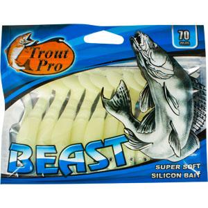 Риппер Trout Pro Beast, длина 7 см, 10 шт. 3518435184Риппер предназначен для джиговой ловли хищной рыбы: окуня, судака, щуки. Специальная пластина на тонком основании делает приманку более гибкой и подвижной, что придает ей усиленные колебательные движения. Характеристики: Длина: 7 см. Цвет тела: 033 (белый молочный). Материал: эластичный полимер. Размер упаковки: 15,4 см х 12 см х 0,8 см. Артикул: 35187.