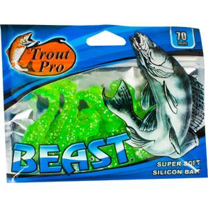 Риппер Trout Pro Beast, длина 7 см, 10 шт. 3519135191Риппер предназначен для джиговой ловли хищной рыбы: окуня, судака, щуки. Специальная пластина на тонком основании делает приманку более гибкой и подвижной, что придает ей усиленные колебательные движения. Характеристики: Длина: 7 см. Цвет тела: 51 (зеленый с блестками). Материал: эластичный полимер. Размер упаковки: 15,4 см х 12 см х 0,8 см. Артикул: 35191.