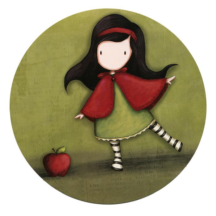 Открытка круглая Little Red. 00110490011049Оригинальная круглая открытка Little Red станет необычным и ярким дополнением к подарку дорогому и близкому вам человеку или просто добавит красок в серые будни. Открытка оформлена стилизованным рисунком шотландской художницы Сюзан Вулкотт (Suzanne Woolcott) с изображением основного персонажа своих произведений - девочки Горджус (Gorjuss) с яблоком. Обратная сторона оформлена как почтовая карточка, что позволит вам подписать открытку и указать адрес получателя.