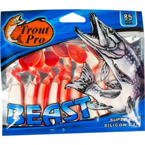 Риппер Trout Pro Beast, длина 8,5 см, 10 шт. 3521435214Риппер предназначен для джиговой ловли хищной рыбы: окуня, судака, щуки. Специальная пластина на тонком основании делает приманку более гибкой и подвижной, что придает ей усиленные колебательные движения.