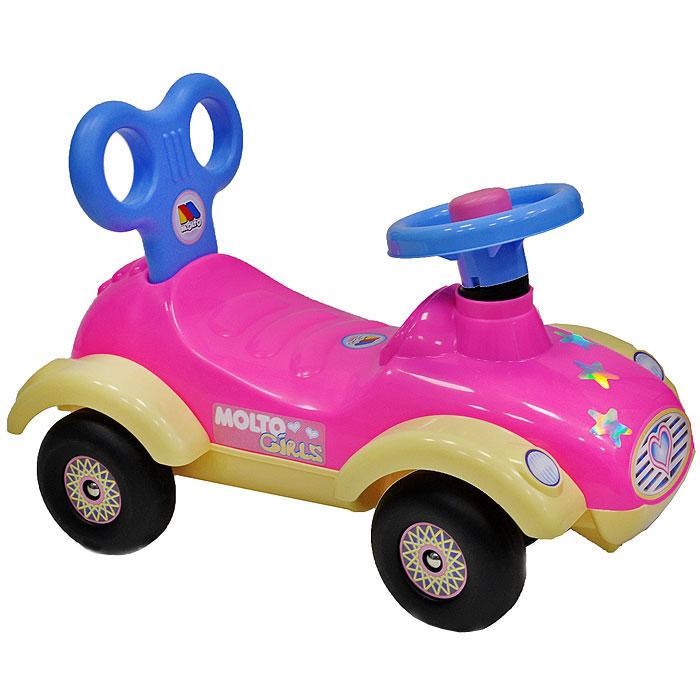 Детский автомобиль-каталка Сабрина7970Детский автомобиль-каталка Сабрина, выполненный в ярких тонах, станет любимым средством передвижения вашей малышки. Автомобиль выполнен из прочного пластика желтого, розового и голубого цветов, имеет руль с клаксоном и удобное сиденье с оригинальной спинкой, а оси колес выполнены из металла, что гарантирует его прочность и долговечность. Автомобиль украшен яркими и блестящими наклейками, что непременно понравится вашей малышке. С такой машиной не только прогулки, но и игры вашего ребенка станут веселее и увлекательнее. Порадуйте его таким замечательным подарком!