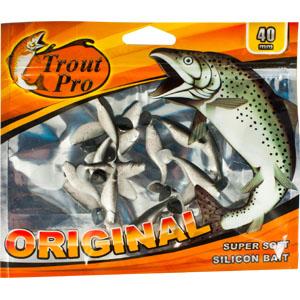 Риппер Trout Pro Original, длина 4 см, 20 шт. 3522935229Приманка предназначена для джиговой ловли хищной рыбы: окуня, судака, щуки. Специальная пластина придает приманке колебательные движения, усиливая ее сходство с живой рыбкой. Характеристики: Длина: 4 см. Цвет тела: 157 (перламутровый с вкраплением красных блесток). Материал: эластичный полимер. Размер упаковки: 16,8 см х 14 см х 0,4 см. Производитель: Китай. Артикул: 35229.