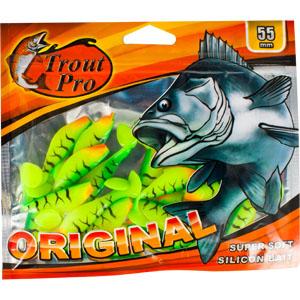 Риппер Trout Pro Original, длина 5,5 см, 20 шт. 3524035240Приманка предназначена для джиговой ловли хищной рыбы: окуня, судака, щуки. Специальная пластина придает приманке колебательные движения, усиливая ее сходство с живой рыбкой.
