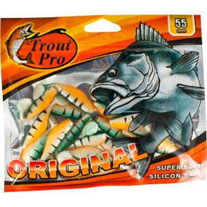 Риппер Trout Pro Original, длина 5,5 см, 20 шт. 3524635246Приманка предназначена для джиговой ловли хищной рыбы: окуня, судака, щуки. Специальная пластина придает приманке колебательные движения, усиливая ее сходство с живой рыбкой.