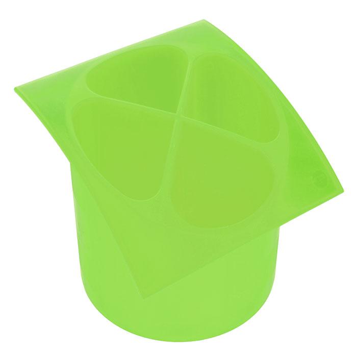 Подставка для столовых приборов Cosmoplast, цвет: зеленый, диаметр 14 см2140Подставка для столовых приборов Cosmoplast, выполненная из высококачественного пластика зеленого цвета, станет полезным приобретением для вашей кухни. Подставка имеет четыре отделения для разных видов столовых приборов. Дно отделений оснащено отверстиями. Подставка вставляется в емкость, предназначенную для стекания воды. Характеристики: Материал: пластик. Цвет: зеленый. Общий размер подставки: 15,5 см х 15,5 см х 14 см. Диаметр емкости: 14 см. Артикул: 2140.