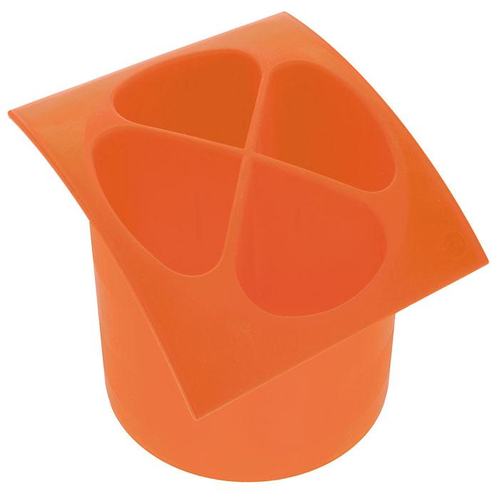 Подставка для столовых приборов Cosmoplast, цвет: оранжевый, диаметр 14 см2140Подставка для столовых приборов Cosmoplast, выполненная из высококачественного пластика оранжевого цвета, станет полезным приобретением для вашей кухни. Подставка имеет четыре отделения для разных видов столовых приборов. Дно отделений оснащено отверстиями. Подставка вставляется в емкость, предназначенную для стекания воды.