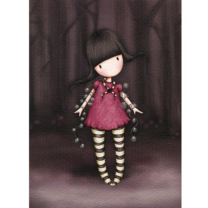 Открытка Fairy Lights, с конвертом. 00110240011024Оригинальная двойная открытка Fairy Lights станет необычным и ярким дополнением к подарку дорогому и близкому вам человеку или просто добавит красок в серые будни. Открытка оформлена стилизованным рисунком шотландской художницы Сюзан Вулкотт (Suzanne Woolcott) с изображением основного персонажа своих произведений - девочки Горджус (Gorjuss) с гирляндой. Внутри открытка без текста. К открытке прилагается конверт.