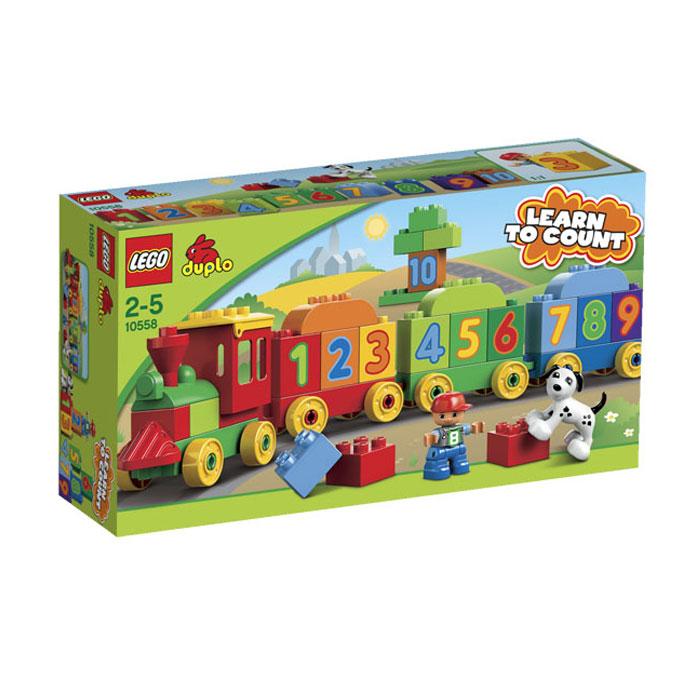 LEGO DUPLO Конструктор Считай и играй 1055810558С помощью конструктора LEGO DUPLO Считай и играй ребенок сможет собрать поезд, состоящий из паровоза и трех вагончиков с цифрами, туннель, здание, собачью будку и много другое. Набор включает в себя 31 яркий пластиковый элемент конструктора, в том числе кубики с цифрами от 1 до 10, фигурку ребенка, фигурку собачки и три основы для вагонов. Он собирается в веселый поезд, с помощью которого малыш быстро и с удовольствием научится считать. Большие яркие детали обязательно привлекут внимание ребенка, а родители смогут придумать собственный метод обучения счету. Они легко крепятся между собой в различных комбинациях, что также способствует развитию фантазии. Конструктор - это один из самых увлекательнейших и веселых способов времяпрепровождения. Ребенок сможет часами играть с конструктором, придумывая различные ситуации и истории. В процессе игры с конструкторами LEGO дети приобретают и постигают такие необходимые навыки как познание, творчество, воображение. Обычные...