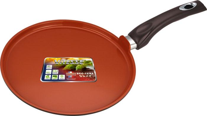Сковорода для блинов Vitesse Cherry, цвет: коричневый. Диаметр 28 смVS-2281Сковорода для блинов Vitesse Cherry изготовлена из высококачественного алюминия. Внутреннее керамическое покрытие Eco-Cera, позволяющее готовить при высоких температурах, не оставляет послевкусия, делает возможным приготовление блюд без масла, сохраняет витамины и питательные вещества. Высокотехнологичное внешнее антипригарное покрытие коричневого цвета устойчиво к царапинам и механическим повреждениям. Покрытие безопасно для человека, не содержит PFOA. Утолщенное алюминиевое дно обеспечивает равномерное распределение тепла по поверхности. Сковорода снабжена удобной и высокопрочной ручкой из бакелита, которая не нагревается в процессе приготовления пищи. Сковорода для блинов Vitesse подходит для использования на всех типах кухонных плит кроме индукционных. Можно мыть в посудомоечной машине. Рекомендуется использовать специальные прихватки для того, чтобы взяться за ручку. Можно использовать металлическую лопатку.