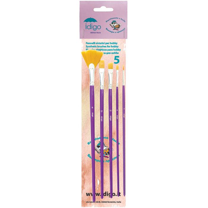 Кисти для хобби с длинной ручкой, синтетика, ассорти 5 штук (плоская №12, скошенная №10, веерная №6, круглая №4, полукруглая №4)