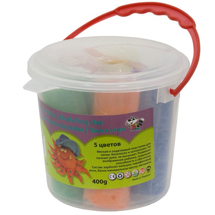 Пластилин для лепки и рисования, 5 цветов 400 грамм, в ведерке