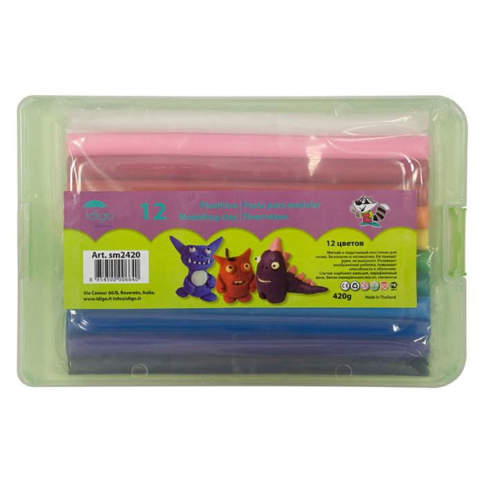 Пластилин для лепки и рисования, 12 цветов 420 грамм, в пластиковой коробке51000572/sm2420Цветной пластилин Idigo, предназначенный для лепки и моделирования, поможет ребенку развить творческие способности, воображение и мелкую моторику рук. Пластилин обладает отличными пластичными свойствами, быстро размягчается, хорошо держит форму и не липнет к рукам. Легко отмывается с рук и отстирывается от одежды. Пластилин нетоксичен, безопасен для здоровья. В наборе пластилин двенадцати цветов: белого, розового, бордового, красного, оранжевого, желтого, светло-зеленого, темно-зеленого, светло-синего, синего, фиолетового и черного. Пластилин упакован в пластиковую коробочку с защелкивающимся замочком сбоку.