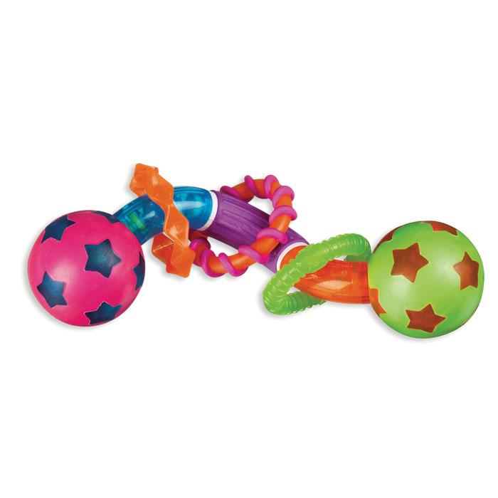 Игрушка-прорезыватель Munchkin Мячики11316Игрушка-прорезыватель Munchkin Мячики выполнена из разноцветных пластиковых и резиновых элементов в виде крутящейся спиральки с вращающимися шариками по краям. Ваш малыш сможет игрушку сжимать, кусать и скручивать, создавая различные конфигурации. На спираль нанизаны три разноцветных колечка с различными рельефными поверхностями. Резиновые вставки на игрушке помогут ребенку снять неприятные ощущения в период прорезывания зубов. Игрушка-прорезыватель способствует развитию цветовосприятия, тактильных ощущений и мелкой моторики рук.