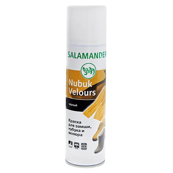 Аэрозоль Salamander Nubuk Velours, для замши и нубука, цвет: черный, 250 мл0 281 018Высококачественная краска-восстановитель Salamander Nubuk Velours подходит для всех видов замши, нубука и велюра. Великолепно освежает цвет, питает кожу и сохраняет первоначальную структуру велюра, замши и нубука. Обладает очень хорошими водоотталкивающими свойствами. Кожа сохраняет способность дышать и остается эластичной.