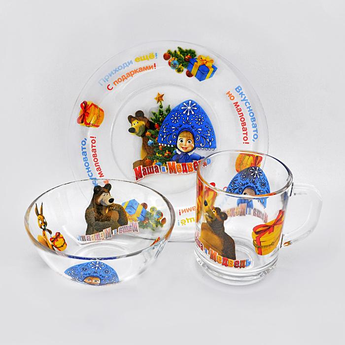 Набор детской стеклянной посуды Маша и Медведь: Новый год!, 3 предмета95590Набор детской стеклянной посуды Маша и Медведь: Новый год! привлечет внимание вашего ребенка и не позволит ему скучать. Набор состоит из чашки, салатника и тарелки. Посуда оформлена изображением любимых героев мультфильма Маша и Медведь. Ваш малыш с удовольствием будет кушать вместе с любимыми героями. Предметы набора допустимо использовать в микроволновой печи.