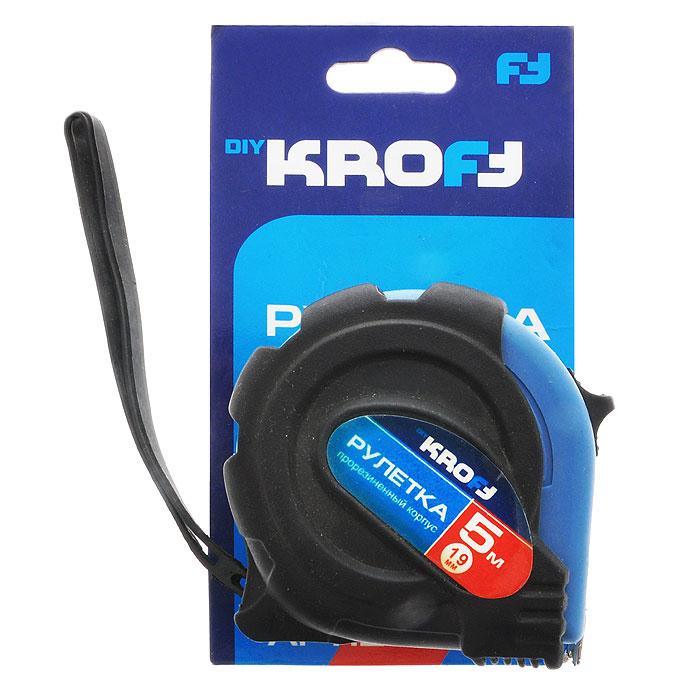 Рулетка Kroft, 5 м. х 19 мм202059Рулетка Kroft - это измерительный инструмент высокой точности, гибкая стальная лента, сматывающаяся в специальный футляр. Она является усовершенствованным вариантом складного метра. Рулетка удобна тем, что на конце измерительной ленты имеется специальный порожек, который можно закрепить за край измеряемого предмета. Это позволяет одному человеку воспользоваться этим измерительным инструментом и измерить предмет размером до 5 м.