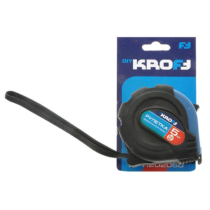 Рулетка Kroft, 5 м х 25 мм202060Рулетка Kroft - это измерительный инструмент высокой точности, гибкая стальная лента, сматывающаяся в специальный футляр. Она является усовершенствованным вариантом складного метра. Рулетка удобна тем, что на конце измерительной ленты имеется специальный порожек, который можно закрепить за край измеряемого предмета. Это позволяет одному человеку воспользоваться этим измерительным инструментом и измерить предмет размером до 5 м.