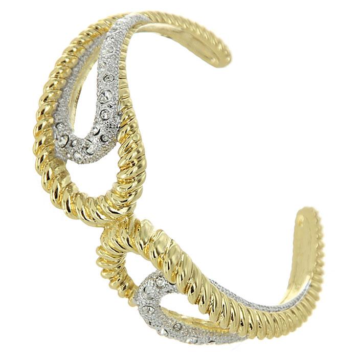Браслет Medea, цвет: золотистый. 4002747040027470Стильный браслет Medea выполнен из металла золотистого цвета с гальванической позолотой и оформлен серебристыми декоративными элементами, инкрустированными стразами Swarovski. Браслет - это модный стильный аксессуар, призванный подчеркнуть индивидуальность и очарование его обладательницы.