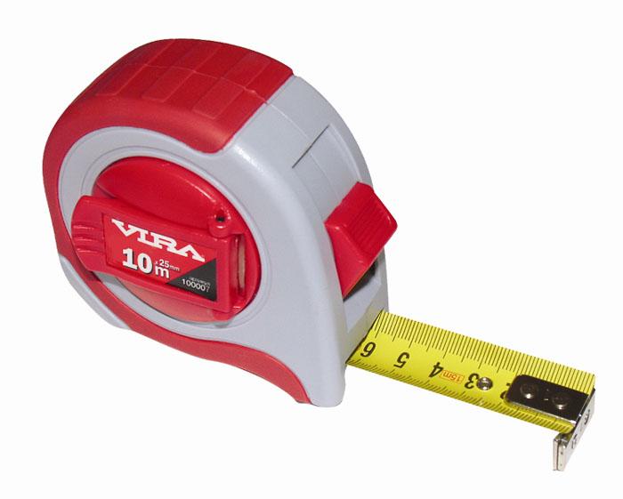 Рулетка Vira, 10 м x 25 мм100007Рулетка Vira предназначена для выполнения измерительных работ. Лента изготовлена из металлического полотна с износоустойчивым покрытием. Наличие крючка в начале ленты не допускает соскальзывания. Корпус выполнен из прочного пластика в резиновом противоскользящем чехле. Рулетка оснащена фиксатором и имеет поясное крепление.
