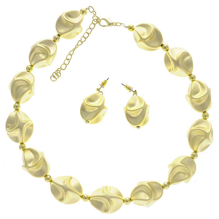 Комплект 'Lovely': колье, серьги, цвет: золотистый. N10010