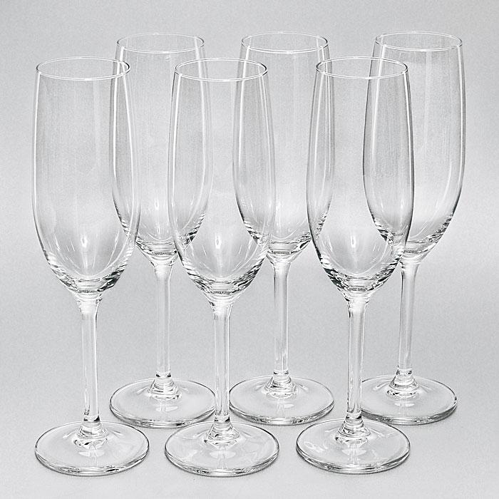 Набор бокалов для шампанского Lesprit du vin, 210 мл, 6 штГл 574173Набор Lesprit du vin, изготовленный из высококачественного стекла, состоит из шести бокалов на ножке. Бокалы предназначены для подачи шампанского. Они сочетают в себе элегантный дизайн и функциональность. Благодаря такому набору пить напитки будет еще вкуснее. Набор бокалов Lesprit du vin идеально подойдет для сервировки стола и станет отличным подарком к любому празднику.