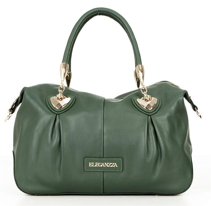Сумка Eleganzza. ZB - 4944AC greenZB - 4944ACЖенская сумка ELEGANZZA из натуральной кожи зеленого цвета. Цвет фурнитуры - светлое золото. Сумка закрывается на общую металлическую молнию. Внутри - два отделения, разделенные средником на молнии, в одном имеется карман на молнии, в другом - карман для мобильного телефона и открытый карман. На задней стенке есть карман на молнии. Ножки на дне есть. Модель не вмещает формат A4. Пустая сумка не держит форму. Модель имеет две ручки. Высота ручек - 14 см, что не позволят носить сумку на плече. В комплекте есть наплечный ремень (104 см).