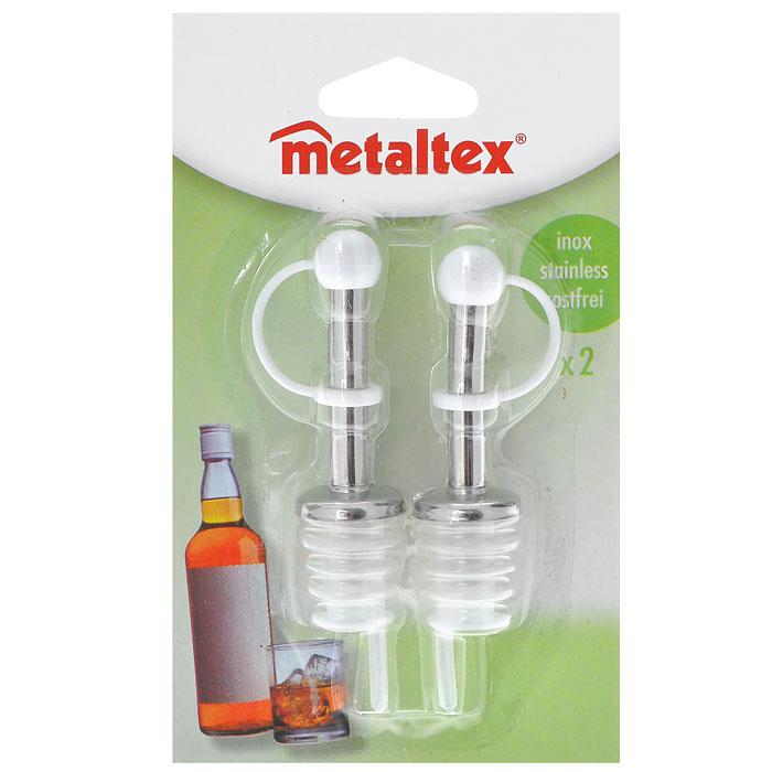 Набор пробок-дозаторов Metaltex, 2 шт в ассортименте25.71.00Набор Metaltex состоит из двух пробок-дозаторов, предназначенных для закрывания бутылок с вином. Пробки выполнены из стали и пластика. С помощью таких пробок можно наливать напитки, не вынимая их. Такой набор - великолепный подарок для настоящих ценителей вина.