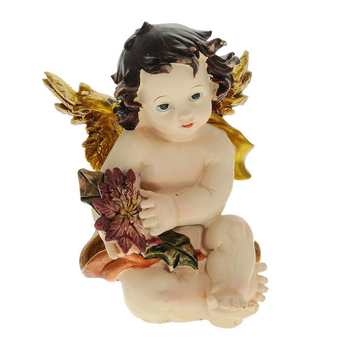 Декоративное украшение Ангел. 2805028050Декоративное украшение Ангел, изготовленное из полирезины, выполнено в виде сидящего ангелочка с цветком в руках. Декоративное украшение послужит приятным и полезным сувениром для близких и знакомых и, несомненно, доставит массу положительных эмоций своему обладателю.