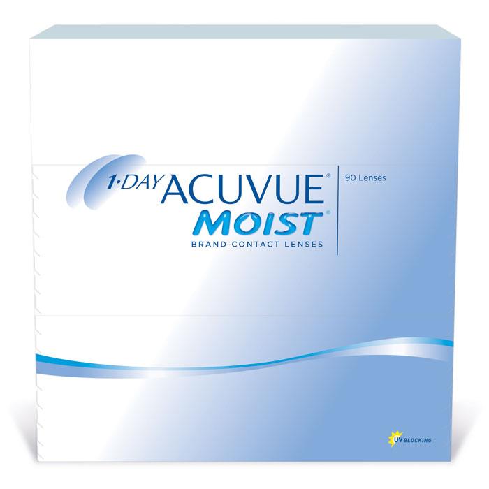 Johnson & Johnson контактные линзы 1-Day Acuvue Moist (90шт / 9.0 / + 3.50)12028Контактные линзы 1-Day ACUVUE Moist (90 блистеров) для ежедневной замены от известной компании Johnson & Johnson Vision Care созданы для того, чтобы ваши глаза чувствовали себя увлажненными, а ощущение комфорта и свежести не покидало весь день. Уже исходя из названия (moist) становится понятно, что при изготовлении линз используется дополнительный увлажнитель, благодаря которому влага удерживается внутри линзы даже в конце дня. Если ваши глаза подвергаются высоким нагрузкам в течение дня, то именно 1-Day ACUVUE Moist подойдут вам лучше всего. Они обладают всеми преимуществами однодневных линз: не требуют дополнительных расходов по уходу, комфортны в ношении и так же, как и 1-Day ACUVUE, снабжены солнечным фильтром