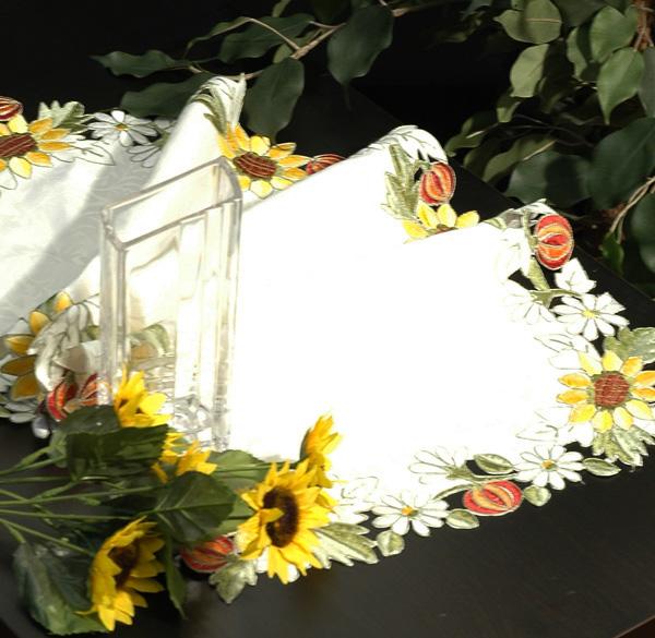 Дорожка для декорирования стола Schaefer, цвет: белый, 40 x 90 см05526-200Дорожка Schaefer выполнена из полиэстера белого цвета и оформлена вышивкой в виде подсолнухов и ромашек по краю. Изделия из полиэстера легко стирать: они не мнутся, не садятся и быстро сохнут, они более долговечны, чем изделия из натуральных волокон. Благодаря такой дорожке вы защитите поверхность стола от воды, пятен и механических воздействий, а также создадите атмосферу уюта и домашнего тепла в интерьере вашей кухни. Изделия из полиэстера легко стирать: они не мнутся, не садятся и быстро сохнут, они более долговечны, чем изделия из натуральных волокон.