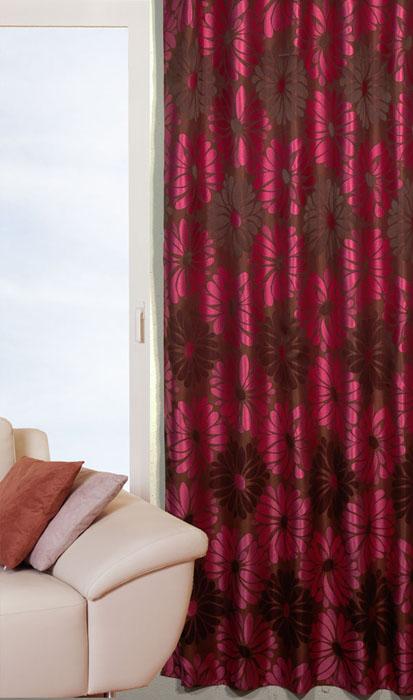 Гардина Schaefer на петлях, цвет: коричневый, 140 см х 235 см. 06666-60306666-603Гардина Schaefer выполнена из полиэстера коричневого цвета с рисунком в виде крупных розовых цветов. В верхнюю часть гардины вшиты специальные петли. Для подвешивания гардины достаточно лишь продеть в них карниз. Гардина прекрасно подойдет для подвешивания на настенный карниз. Оригинальное оформление гардины внесет разнообразие и подарит заряд положительного настроения.