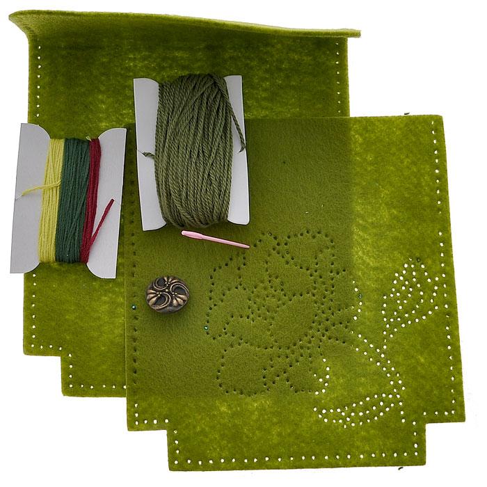 Набор для шитья из фетра Сумочка. Роза на зеленом, 16 х 16 см931-36В наборе для шитья из фетра Сумочка. Роза на зеленом есть все необходимое для создания собственного чуда: выкройки из полиакрила с перфорацией для шитья, пуговица, пластиковая игла, нитки, инструкция. Красивая и стильная сумка выглядит оригинально и всегда модно. Работа, сделанная своими руками долгие годы будет радовать вас и ваших близких. Работа, которая отвлечет вас от повседневных забот, и превратится в увлекательное занятие!