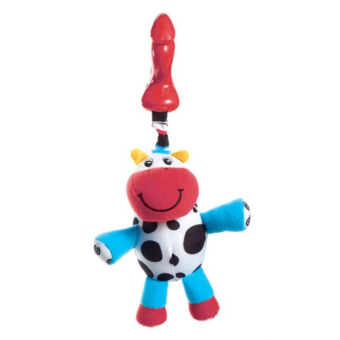 Мягкая игрушка-подвеска Tiny Love Теленок Кузя1108000458Мягкая игрушка-подвеска Tiny Love Теленок Кузя выполнена из текстильного материала различных цветов и фактур в виде забавного теленка. Конечности теленка содержат шуршащий элемент, внутри головы игрушки спрятана сфера, мягко гремящая при тряске. К игрушке крепится текстильная веревочка. Если игрушку потянуть вниз, то она начнет вибрировать до тех пор, пока веревочка не вернется в исходное положение. С помощью пластиковой прищепки игрушку легко можно прикрепить к кроватке, коляске или игровой дуге малыша. Игрушка подвеска Теленок Кузя поможет ребенку в развитии цветового и звукового восприятия, мелкой моторики рук, координации движений и тактильных ощущений.