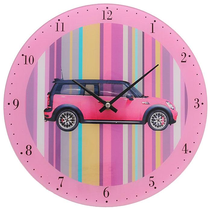 Часы настенные Розовый автомобиль, кварцевые27793Настенные кварцевые часы Розовый автомобиль выполнены из высококачественного стекла и оформлены изображением розового автомобиля на разноцветном полосатом фоне. Часы имеют две стрелки - часовую, минутную. Своим эксклюзивным дизайном часы подчеркнут оригинальность интерьера вашего дома и помогут создать атмосферу домашнего уюта. Такие часы послужат отличным подарком для каждого.