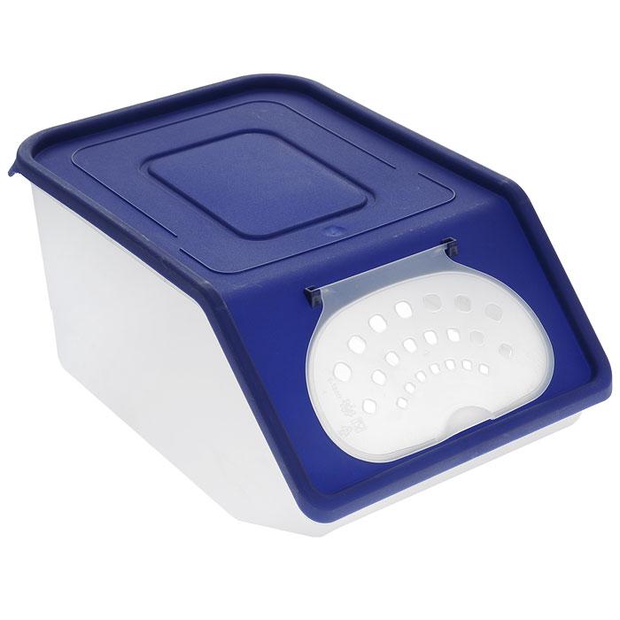 Контейнер для овощей Полимербыт, цвет: синий, прозрачный, 7,6 л820Пластиковый контейнер для овощей Полимербыт выполнен из пищевого пластика и изготовлен таким образом, что позволяет овощам и фруктам дышать, обеспечивая их длительную свежесть. Изделие легкое и компактное, в то же время вместительное, прекрасно впишется в пространство вашей кухни. Объем: 7,6 л.
