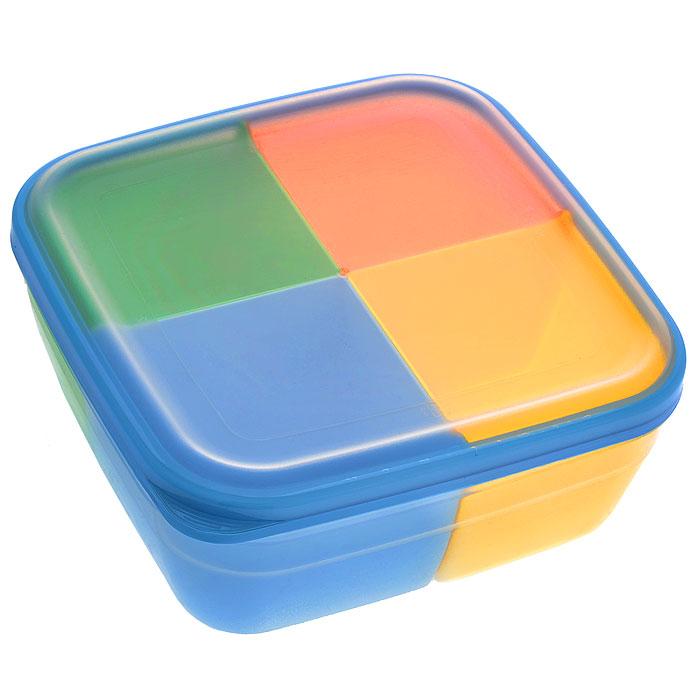 Контейнер-менажница для СВЧ Полимербыт, с крышкой, цвет: прозрачный, голубой, оранжевый, 2,2 л56701Контейнер-менажница для СВЧ Полимербыт изготовлен из высококачественного прочного пластика, устойчивого к высоким температурам (до +120°С). Крышка плотно закрывается, дольше сохраняя продукты свежими и вкусными. Контейнер снабжен 4 цветными съемными секциями, которые позволяют хранить сразу несколько продуктов или блюд. Он идеально подходит для хранения пищи, его удобно брать с собой на работу, учебу, пикник или просто использовать для хранения пищи в холодильнике. Можно использовать в микроволновой печи и для заморозки в морозильной камере. Можно мыть в посудомоечной машине. Размер секции: 9 х 9 х 7 см.