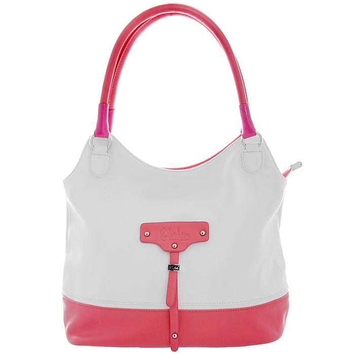 Сумка женская Leighton, цвет: белый, розовый. 580244580244-082/101/082/27/349Изысканная и стильная женская сумочка из весенней коллекции от бренда Leighton выполнена из высококачественной искусственной кожи белого и розового цветов, оформлена декоративным элементом с логотипом фирмы. Сумка с удобными ручками застегивается на застежку-молнию. Внутри - два вместительных отделения, разделенных по середине карманом на молнии, два нашивных кармана для мелочей, вшитый карман на молнии. На внешней стороне сумки расположен дополнительный карман на молнии. К сумке прилагается съемный регулируемый ремень. Элегантность этой сумочки определяется игрой линий и форм, которые сочетаются с модным декором. Ее обладательница привыкла брать от жизни все и наслаждаться каждым ее моментом. Такая сумка станет идеальным дополнением к вашему образу!