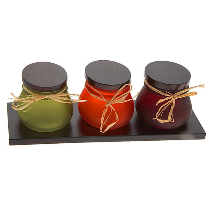 Набор банок для пищевых продуктов, цвет: зеленый, оранжевый, бордовый, 3 штФ21-2009Набор, выполненный из цветного стекла, состоит из трех банок с крышками. Банки выполнены в зеленом, оранжевом и бордовом цвете и размещены на деревянной подставке. Крышки снабжены силиконовыми ободками для надежной фиксации. Банки идеально подходят для хранения сыпучих и жидких пищевых продуктов и не занимают много места на кухне. Набор банок займет достойное место на любой кухне и послужит украшением кухонного интерьера.