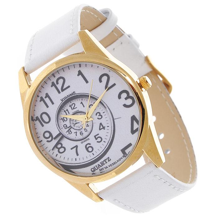 Часы Mitya Veselkov Спираль времени. Shine-01Shine-01Наручные часы Mitya Veselkov Спираль времени созданы для современных людей, которые стремятся выделиться из толпы и подчеркнуть свою индивидуальность. Часы оснащены японским кварцевым механизмом. Ремешок выполнен из натуральной кожи белого цвета, корпус изготовлен из стали золотистого цвета. Циферблат оформлен изображением закручивающейся спирали. Часы размещаются на специальной подушечке и упакованы в фирменный стакан Mitya Veselkov.