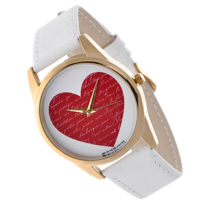 Часы Mitya Veselkov Сердце. Shine-16Shine-16Наручные часы Mitya Veselkov Сердце созданы для современных людей, которые стремятся выделиться из толпы и подчеркнуть свою индивидуальность. Часы оснащены японским кварцевым механизмом. Ремешок выполнен из натуральной кожи белого цвета, корпус изготовлен из стали золотистого цвета. Циферблат оформлен изображением красного сердца. Часы размещаются на специальной подушечке и упакованы в фирменный стакан Mitya Veselkov. Характеристики: Материал: натуральная кожа, сталь, сплав металлов. Стекло: минеральное. Механизм: Citizen. Длина ремешка (с корпусом): 23,5 см. Ширина ремешка: 2 см. Диаметр корпуса: 3,8 см. Диаметр циферблата: 3,5 см. Размер упаковки: 8 см х 8 см х 10 см. Артикул: Shine-16. Производитель: Россия. Идея компании Mitya Veselkov возникла совершенно случайно. Просто один творческий человек и талантливый организатор решил делать людям необычные часы....