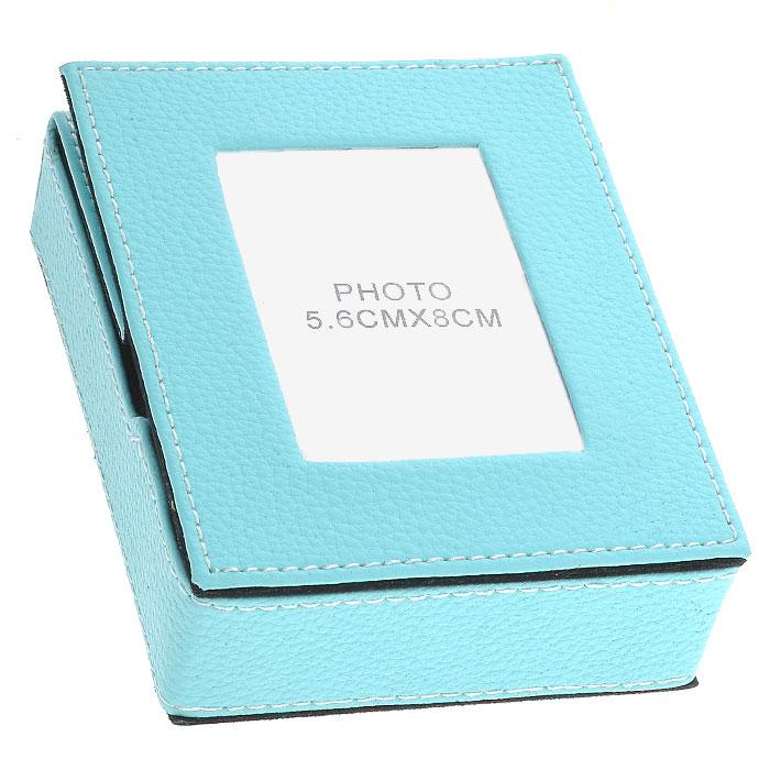 Подставка для бумаги с рамкой для фото, цвет: голубой, 5,5 см х 8 см. 28705