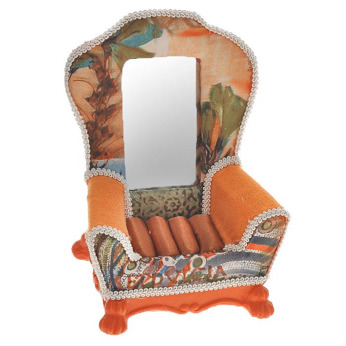 Подставка для колец Кресло, цвет: оранжевый. 2887128871Оригинальная подставка для колец Кресло благодаря своей практичности и необычности станет не только идеальным подарком представительнице прекрасного пола, но и изысканным украшением интерьера. Подставка выполнена в виде кресла на ножках в старинном стиле и имеет отделение с валиками для колец. Подставка изготовлена из полистоуна, обтянутого текстилем, и декорирована тесьмой и зеркальной вставкой.