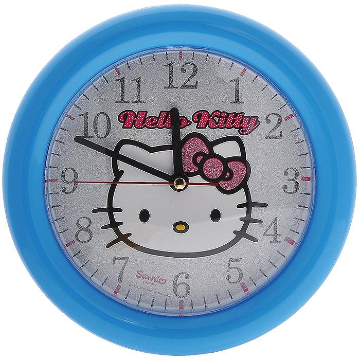 Часы настенные Hello Kitty, цвет: голубой. Диаметр 25 см41252Яркие настенные часы Hello Kitty с надежным кварцевым механизмом - это не только функциональное устройство, но и оригинальный элемент декора, который великолепно впишется в интерьер детской комнаты. Круглые пластиковые часы имеют три стрелки: часовую, минутную и секундную, их циферблат оформлен изображением очаровательной и всеми любимой кошечкой Китти и надписью Hello Kitty. Корпус часов выполнен в голубом цвете и украшен блестками.