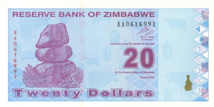 Банкнота номиналом 20 долларов. Зимбабве. 2009 год291206Размер 14,7 х 7,3 см.