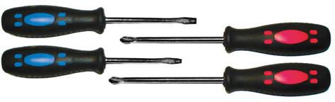 Набор стандартных отверток FIT, 4 шт56015Набор стандартных отверток FIT 56015 используется для монтажа и демонтажа резьбовых соединений с крестовым или прямым шлицем. Стержни отверток изготовлены из хром-ванадиевой стали, которая отличается стойкостью к механическим повреждениям. Рукоятки из прорезиненного материала не скользят в руке. Намагниченные наконечники предназначены для работы в труднодоступных местах. Набор состоит из четырех инструментов, что позволяет подобрать необходимую отвертку, нужного размера и щлица.